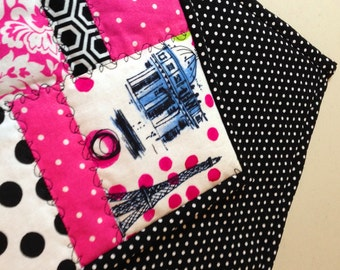 Eiffel Tower/Paris Black/Pink Polka Dot Fabric Indoor/Outdoor/Breakfast Coaster/Mug Mat/Mug Rug