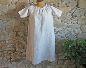 Antique French linen nightdress monogram VL chemise rustic country charm