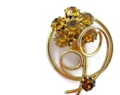 Vintage Rhinestone Brooch Amber Flower Circle Pin Sawtooth Prongs