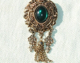 Vintage Pierre Lang Golden Brooch with Green Stone