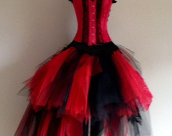 Red Black Peacock Feather Skirt and Corset