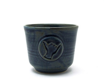 Shaka Shaving Bowl, Blue Hang Loose Shave Cup, Aloha Spirit Handmade Wet Shaving Pottery Gifts for Surfer Men Husband Gift - Ready to Ship