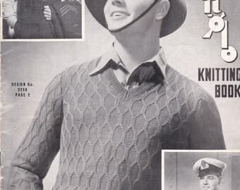 Sun Glo Knitting for Men Vintage Knitting  Book No 37 - Wartime - 1940s  Vintage 1940s Original Pattern.