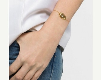 ON SALE Gold evil eye bracelet