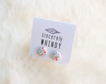 Fabric Button Earrings, Nylon Post, Polka-Dot Earring