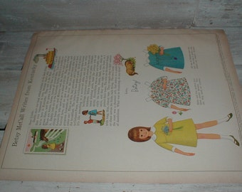1966 McCalls Magazine Betsy McCall Paper Doll & Dresses *Betsy McCall Writes From Kentucky*