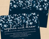 Sparkly Stars On Water Blue Wedding Reception Invitation: Landscape (7 x 5), Text-Editable in Microsoft® Word - Printable Instant Download