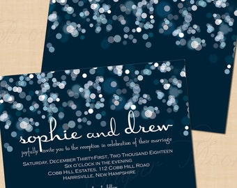 Sparkly Stars On Water Wedding Reception Invitation, Blue Bokeh (7x5, Landscape): Text-Editable in Word, Printable Instant Download
