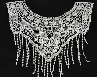 SALE Day Crocheted Fringe Tassels Front Necklace Collar, White Neck Lace Applique, Dress Yoke Collar