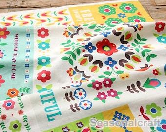 Cotton Linen with Patch Work, Vintage Colorful Flower Floral, Zaka DIY Fabric  (QT781)