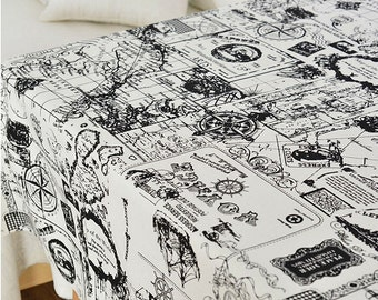 The Sailing Map Cotton Canvas Blend Fabric, Thick Heavy burliness Canvas,Printing dyeing seafaring pattern Canvas Fabric 1/2 Yard (QT914)