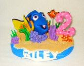 Finding Dory theme Inspired - Cake Topper with name & number