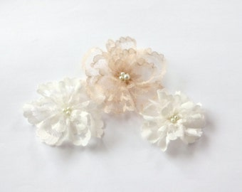 Ivory and Champagne Lace Flowers Embellishment
