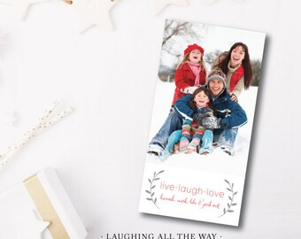 Laughing All the Way Printed Holiday Cards | Holiday Christmas Photo Card | Printed with Envelopes or Printable File by Darby Cards