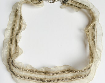 SALE Vintage fashion Handmade necklace with trasparent fabric and shiny rhinestones