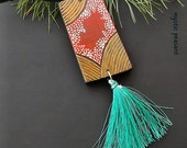Moroccan Style Wood Tassel Ornament - Ebony Gold Poppy Turquoise Tassel Decoration - Bohemian Decor - Hand Painted Ornament