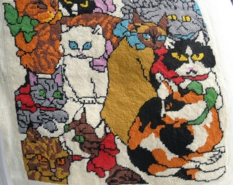 """Crazy Cat Lady Needlepoint 15"""" Square w/ 11 Assorted Cats, Pillow Making"""