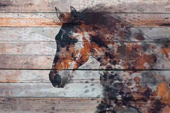 "Fire Horse. Extra Large Horse, Unique Horse Wall Decor, Brown Rustic Horse, Large Contemporary Canvas Art Print up to 72"" by Irena Orlov"