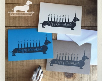 Chanukkah Doxie. Note Cards -- (Hanukkah, Happy Hanukkah, Dog, Dachshund, Hanukkah Dog, Vintage-Style, Weiner Dog, Happy Chanukkah, Funny)