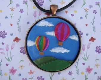 Colorful Hot Air Balloon Pendant, Polymer Clay