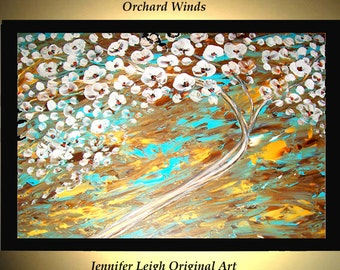Original Large Abstract Painting Modern Acrylic Painting Oil Painting Canvas Art ORCHARD WIND Flower Tree 36x24 Textured Wall Art  J.LEIGH