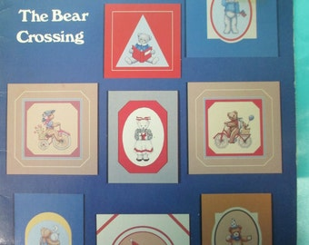 "Cross Stitch Pattern Booklet ""Bear Crossing"" 1986  used 18 pages"