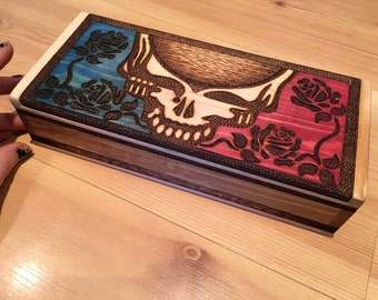 Grateful Dead with Roses Large Wood Burned Wooden Box