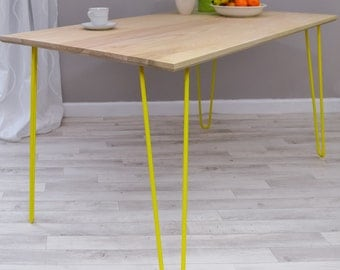 Ash Dining Table or Desk on Hairpin Legs