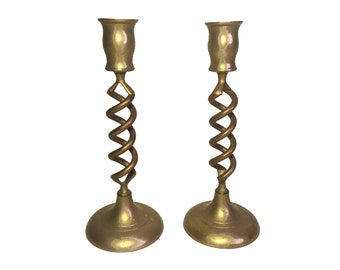 Vintage Brass Spiral Candle Holders