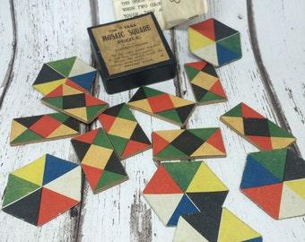 Vintage Tesa Mosaic Square Puzzle and Hexagon Puzzle