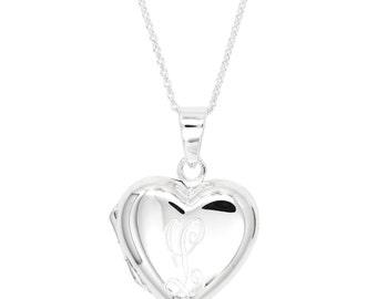 Sterling Silver Personalized Custom Engraved Heart Locket Pendant