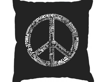 Throw Pillow Cover - Word Art - The Word Peace In 77 Languages