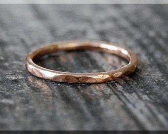 14k Rose Gold Hammered Ring, 14k rose gold filled ring, 14k Gold Stacking Ring, delicate gold filled ring, Dainty stacking ring, gold ring