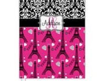 Custom Personalized damask pink eiffel tower paris Notebook Spiral or Hardbound