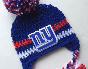 New York giants hat with ear flaps football cap ny giants baby beanie infant cap