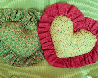 Two HEART shaped FABRIC PILLOWS homemade decor' bedrooom decor' Cottage, Beach, Porch decor'
