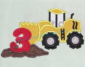 Instant Download - Scraper Truck with number 3 Digitized Embroidery Applique Designs - 4x4, 5x7, and 6x10 hoops