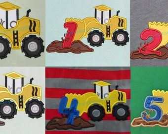 Instant Download - Scraper Truck applique Set of 6 designs - Truck AND Numbers 1 thru 5 Applique Designs - 4x4, 5x7 and 6x10 hoops
