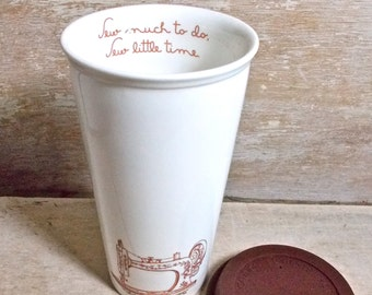 Large Sew Much To Do, Sew Little Time Travel Mug, Seamstress, Insulated Takeaway Cup, Crafter, Eco, Green, 16 oz, Large coffee Cup
