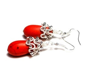 Red Teardrop Earrings, Wire Wrapped Earrings, Red Howlite Earrings, Teardrop Earrings