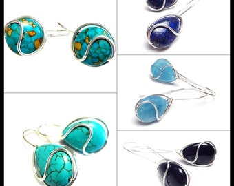 Wire Wrap Gemstone Curly Earrings Woven Curly Earrings Turquoise Earrings Lapis Earrings Onyx Earrings Angelite Earrings Mosaic Turquoise