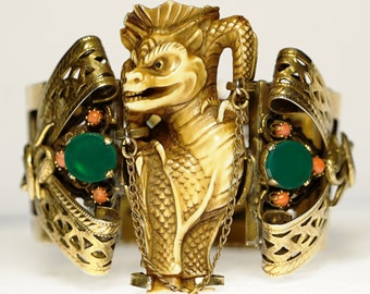 Rare Foo Dog Dragon Serpent Jade Coral Hinged Cuff Bracelet