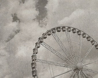 Paris Ferris Wheel | France Wall Art | View of Paris Print | Photography | Vintage Texture Soft | Love | Wanderlust | Travel Black and White
