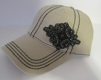 Khaki Trucker Baseball Cap with Black Stitching and Beautiful Black Glass Bead Accent