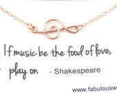 Rose Gold G Clef Bracelet, Wire Musical Symbol Bracelet, Dainty Music Note Bracelet, Musician Gift, Rose Gold Filled Jewelry