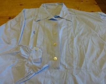 Antique Art Deco Mens Nightgown,  Night Shirt, Nightdress Full Length, French Circa 1930's