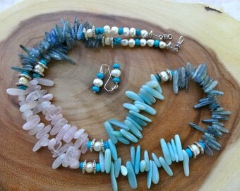 30 Inch Southwestern Three Gemstone Necklace for Blondes!