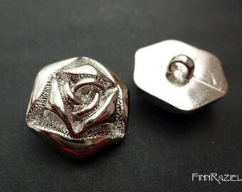 5 silver buttons flower shape ø25mm shank buttons