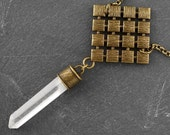 """QUARTZ DIAMONDS In DIAMOND Pendant - Aged Bronze or Silver - 18"""""""