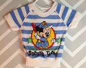 vintage disney babies mickey baseball international sports team short sleeved ringer tee top 0-6 months